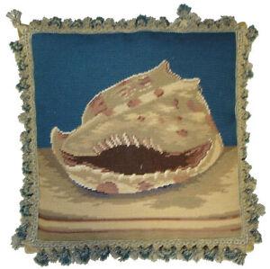 Needlepoint Throw Pillow Beach Spiral Shell Cushion with Tassel Fringe 18x18