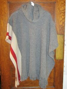 Roots Ladies Women's Cabin Poncho Cowl Neck Grey Oat Mix One Size Fits All