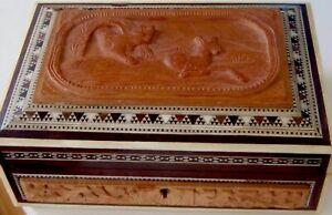 ANTIQUE CARVED ANGLO INDIAN SADELI INLAY BOX