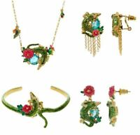 Les Nereides 14Ct Gold plated Crocodile Bangle Bracelet  Necklace Drop Earrings