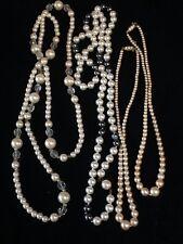 VINTAGE Bigiotteria JOB LOTTO DI 4, Collana Vintage Fauxe Perle, GC