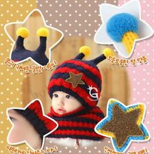 Winter Baby Warm Hat  Hooded Scarf Earflap Knitted Wool  Kid Beanie  #