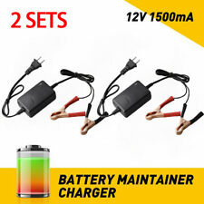 2 Sets Car Battery Maintainer Charger 12V Auto Boat Motorcycle Black 1500mA