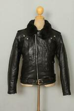 Vtg 60s OAKBROOK Sears Steerhide Leather D-Pocket Motorcycle Jacket Small