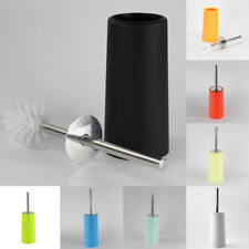 Stainless Steel Bathroom WC Toilet Cleaning Handle Brush Set + Plastic Holder