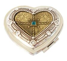 "Brighton ""Regan"" Two Tone Heart Mirror Compact with Blue Crystal NWT"