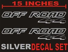 4x4 OFFROAD Truck Bed Decals, METALLIC SILVER (Set) for Ford F-150 & Super Duty