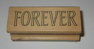 """Forever Rubber Stamp Wood Mounted Friends Love 2.5"""" long"""