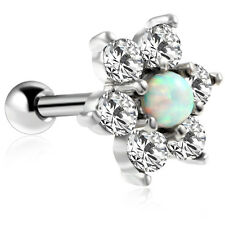 Flower White Opal Stud Earring Ear Barbell Crystal Surgical Steel Body Jewelry