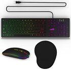 Backlit Computer Wired Gaming RGB Keyboard Desktop / LED Light Mouse / Mouse Pad