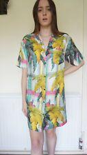 Topshop 100% Seda Camisa XS 6 8 10 Boutique de gran tamaño de Vestido Hawaiano Tropical