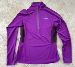 Patagonia 1/4 Zip Base Layer Women Size L Purple pullover