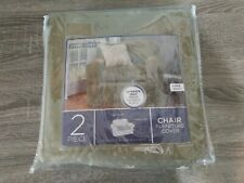 maytex smart cover 2 piece chair cover with fitted elastic, suede, sage