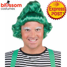 W722 Green Elf Mens Costume Wig Hair Oompa Loompa Willy Wonka Chocolate Factory