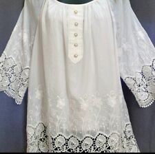 V Christina - White Silk Embroidery and Lace Trim Blouse, Tunic Size Medium