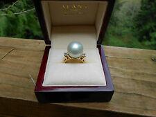 Large South Sea Pearl Ring 14k 14mm .50cts Diamonds