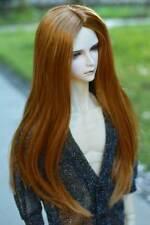 "6-7"" 1/6 BJD Long Charm Lightest Brown Mellow Auburn Buckle Tips Wig Doll Hair E"