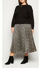 New Look Curves Brown Satin Spot Pleated Midi Skirt Size 28