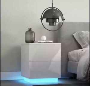 LED Nightstand Black with High Gloss 2 Drawers Modern Bedside End Table WOODY