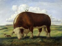 """perfect 36x24 oil painting handpainted on canvas""""two birds on a cattle""""N1644"""