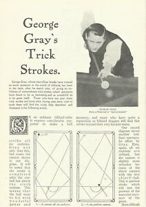 BILLIARDS - GEORGE GRAY'S TRICK STROKES 1912 ARTICLE  AUSTRALIAN PLAYER RED-BALL
