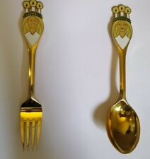 Anton Michelsen Danish Silver Gilt/Enamel Christmas Spoon & Fork Set 1959