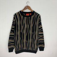 Vintage J. Simon Men's Black/Multicolor 3D Textured Coogi Style Sweater M Medium