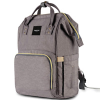 HaloVa Diaper Bag Multi-Function Waterproof Travel Backpack Nappy Bag - GRAY