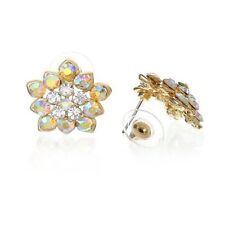 Flower Gold Plated w/ Ab and Clear Rhinestone Womens Bridal Earrings Studs