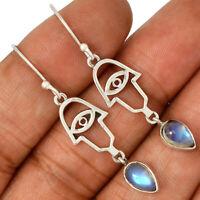 Evil Eye - Rainbow Moonstone - India 925 Silver Earrings Jewelry AE102089 163R