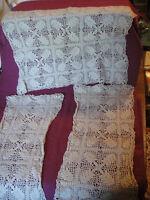 "Vintage Set 3 Hand Crocheted Rectangular Doily Ecru 7.5""x17.5"" 12""x16.5"" Dresser"