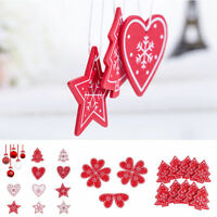 5pcs Red & White Wooden Tag Christmas Gift Xmas Tree Hanging Decoration Supplies