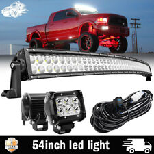 """For Dodge Ram 1500 2500 3500 54"""" Curved LED Light Bar Combo+4"""" Pods Cube+Wirings"""