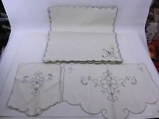 "vintage gray embroidery - Table Cloth (66x100"") w/12 placemats & 3 pcs MADEIRA"