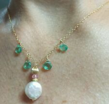 14k gold 1ct heart cut Apatite pink Topaz gemstone coin pearl necklace