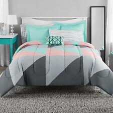 Mainstays Grey & Teal Bed in  00006000 a Bag Bedding Set, King