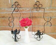 2 Vintage Sconces Black Wrought Iron Wall Hanging decorative Candle Holders 16""