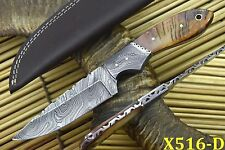 Custom Damascus Hunting Knife Handmade With Rams Horn Handle (X516-D)