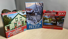 X3 Jigsaw Puzzles 'Quilt Shop, Winter Wonderland, Covered  Bridge' 500 Pieces