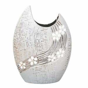 Hestia Metallic Oval Vase With White Flowers 21.3cm HE1497 BNIB
