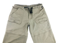 The North Face Mens Beige Belted Convertible Hiking Pants Zip Off Shorts Sz XL