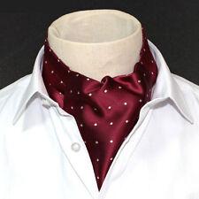 LJ04-01 Wine Red Mens 100% Silk Ascot Tie Cravat  Self Tied Polka dot Style Ties