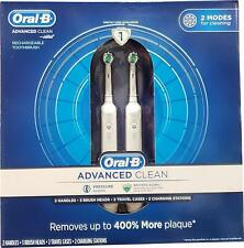 NEW Oral-B Advanced Clean 2-Pack Rechargeable Electric Toothbrush w/Travel Cases