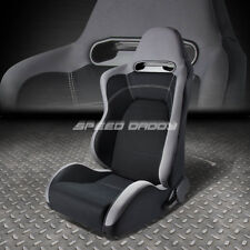 FULL RECLINABLE GRAY/BLACK CLOTH TYPE-R RACING SEAT+SLIDER RAIL DRIVER LEFT SIDE