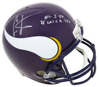 Cris Carter Signed Minnesota Vikings Riddell Full Size Replica Helmet w/TDs - SS