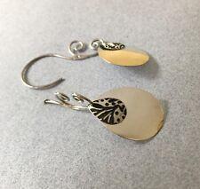 Modern Double Teardrop Swivel Hook Black 925 Silver Dangling Shiny Long Earrings