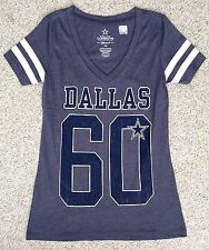 New$23 Women(XS) DALLAS COWBOYS T-SHIRT Heather-Blue V-neck Striped Short-Sleeve
