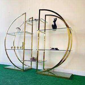 Milo Baughman Style, Brass Circular D Etagere Set With Glass Shelving