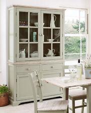 Florence Display Cabinet Kitchen Dining Large Dresser in Sage Green Assembled