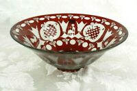 """Egermann Art Glass Bowl Red Etched to Clear Czech Republic 10"""" Bohemian Stag"""